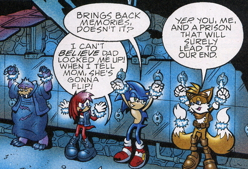 Lara-Su, Sonic, Tails, and Rotor locked up