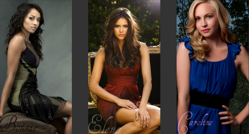 Vampire Diaries fond d'écran possibly with a portrait titled My Bonnie, Elena and Caroline Collage