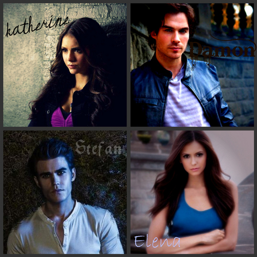 My Katherine, Damon, Stefan, and Elena collage
