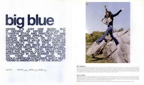 Zoe featured in Nylon Big Blue Editorial August 2002
