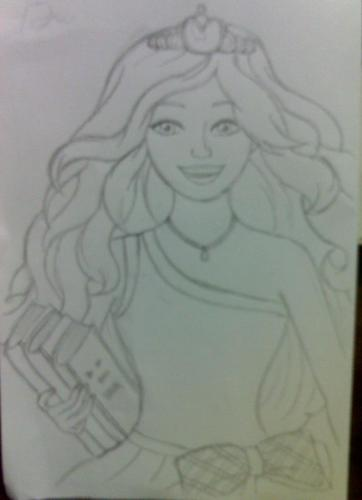 Cousin's Barbie in Princess Charm School drawing for me!
