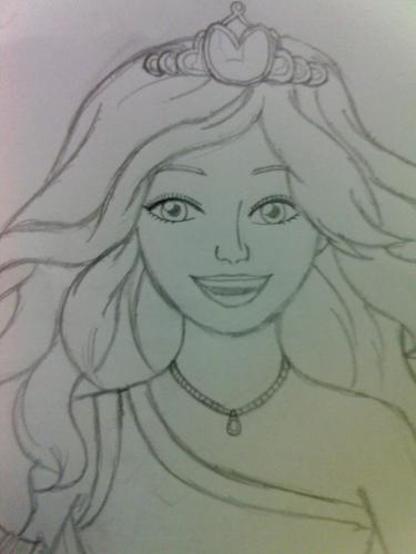 Cousin's búp bê barbie in Princess Charm School drawing for me!
