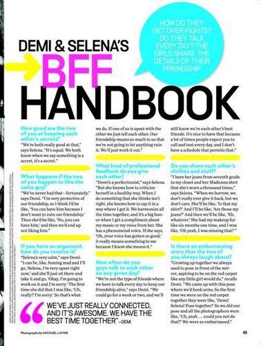 Demi and Selena's BFF Handbook