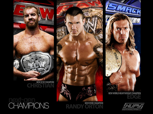 WWE wallpaper possibly with a hunk, a six pack, and anime entitled Edge, Randy & Christian - The Champions
