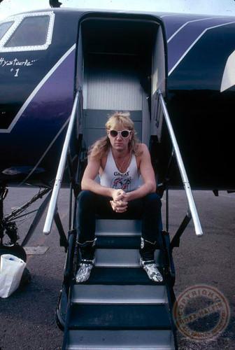 Joe, on what looks like airplane stairs