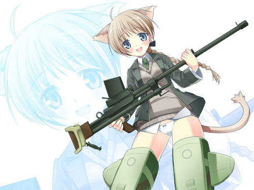 Strike Witches wallpaper with a rifleman, a green beret, and a navy seal entitled Lynette Bishop