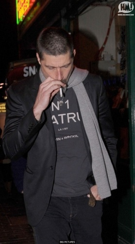 Matthew Fox walks home after attending a pre-BAFTA's party in London's