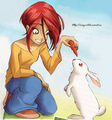 Will Vandom with a rabbit