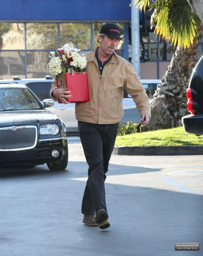 hugh laurie buying flowers in los angeles, February 14, 2011