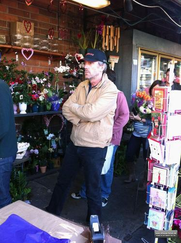 hugh laurie buying bunga in los angeles, February 14, 2011