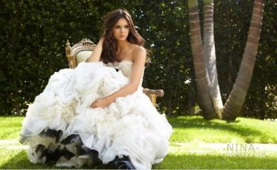 엘레나 길버트 바탕화면 possibly with a gown, a bridal gown, and a bridesmaid entitled Nina Dobrev (Elena) on John Russo 2010 사진 shoot