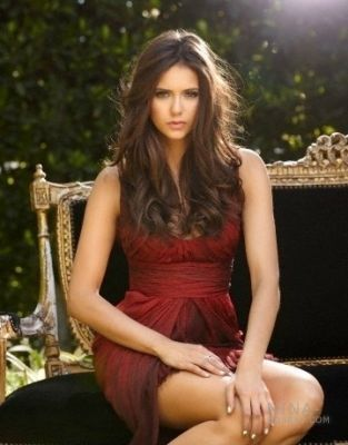 Elena Gilbert achtergrond probably with a cocktail dress, a strapless, and a chemise entitled Nina Dobrev (Elena) on John Russo 2010 foto shoot