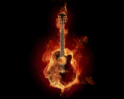 OMG! đàn ghi ta, guitar is on fire!
