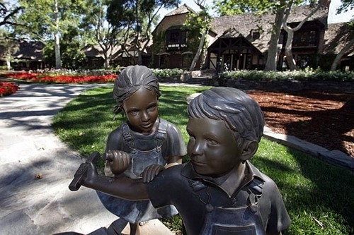 Statues on driveway