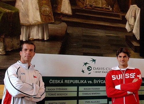 Stepanek and Federer - tennis Photo