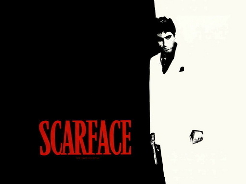 The 80s wallpaper probably containing a sign and a golf bag entitled scarface