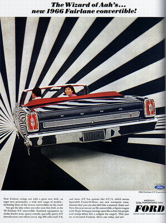The 60's wallpaper probably containing a ski rack and an automobile called 1966 Car Ad