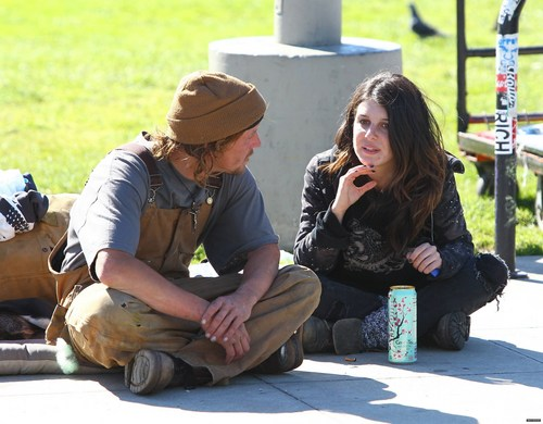 """2011-02-20 Shenae Grimes researching her role for the upcoming film """"Sugar"""""""