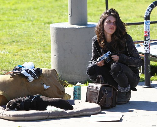 "2011-02-20 Shenae Grimes researching her role for the upcoming film ""Sugar"""
