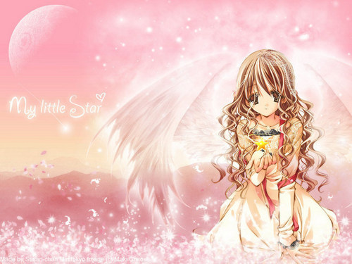 anime angel with curly brown hair