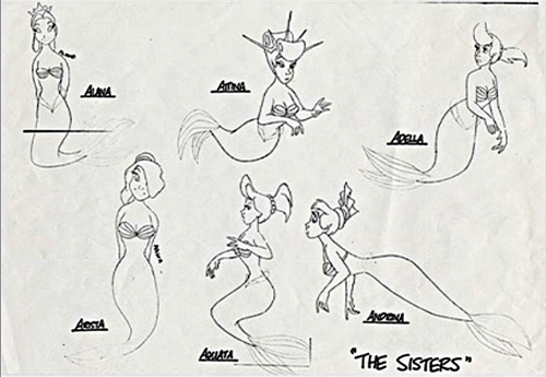 Walt Дисней Sketches - Princess Ariel's Sisters