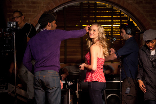 Candice as Caroline Forbes behind the scenes of TVD 2x16: The House Guest!