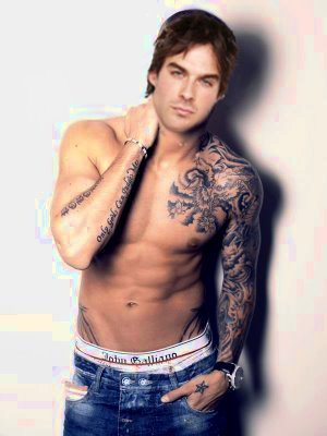 The Vampire Diaries achtergrond probably containing a hunk, a six pack, and skin called Damon with Tattoo