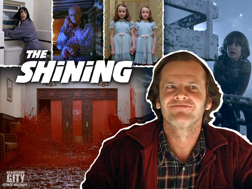 Horrorfilme Hintergrund possibly containing a street, a diner, and a sign entitled The Shining