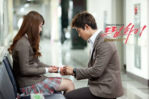 Dream High wallpaper possibly containing a business suit, a street, and a well dressed person called Hye Mi & Jin Guk