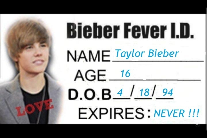 bieber fever logo. My own Bieber Fever I.D. lt;3