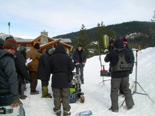 Rob on the set of Breaking Dawn