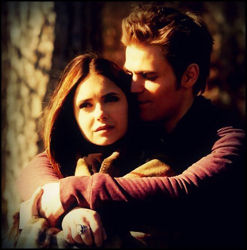 The Vampire Diaries kertas dinding called Stefan & Elena.
