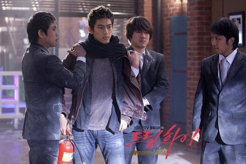 Dream High wallpaper containing a business suit, a well dressed person, and a street called Taecyeon as Jin Gook / Hyun Shi Hyuk