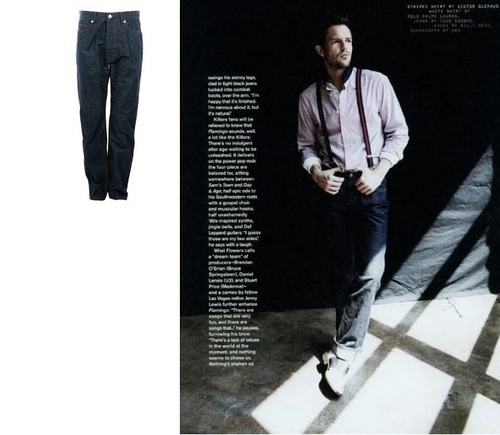 Brandon Flowers Wallpaper With A Business Suit Titled Thom Browne Straight Cut Demin Jeans