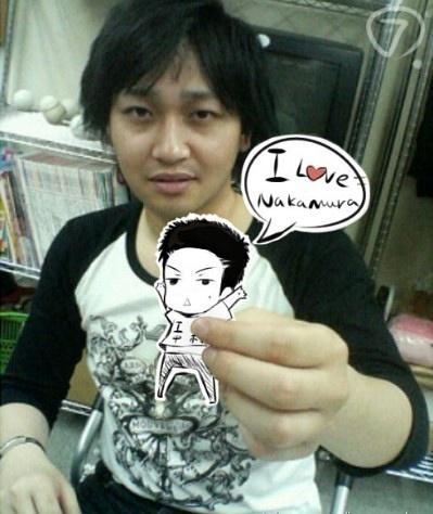 Yuuichi Nakamura with tiny paper Sugita Tomokazu