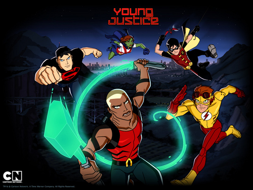 Young Justice achtergrond with anime titled young justice