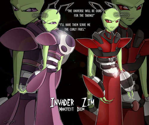 Invader Zim karatasi la kupamba ukuta possibly with anime entitled Almighty Tallest