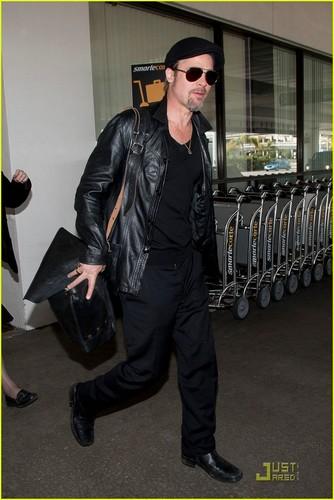 Brad Pitt: Leather LAX Landing