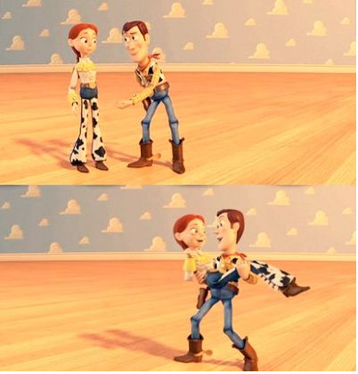 Toy Story Hintergrund containing a gatter, wicket entitled Jessie and Woody dancing