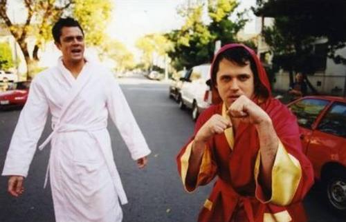 Johnny Knoxville 바탕화면 possibly containing a bathrobe, a business suit, and a 키모노, 기모노 titled Johnny Knoxville & Jeff Tremaine