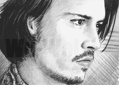 Johnny Depp wolpeyper called Johnny pencil sketch