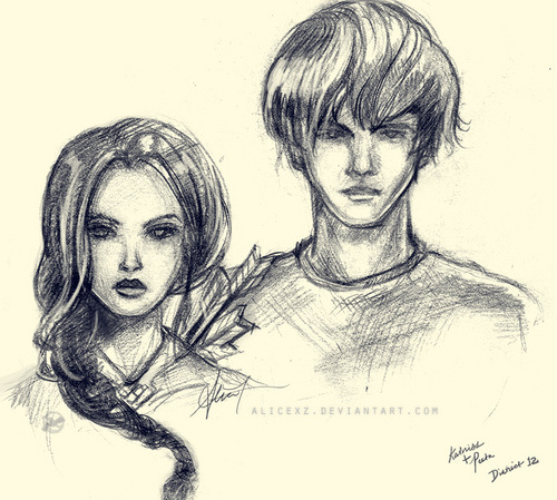 Katniss and petta cartoon