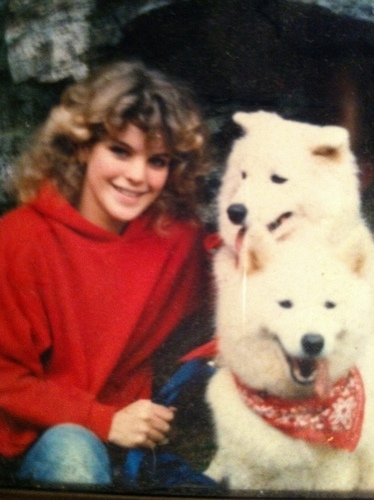 Pauley at 14 years with her dogs, Tasha & Jesse