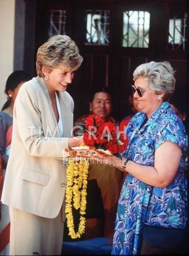 Princess Diana With Baroness Chalker In Nepal