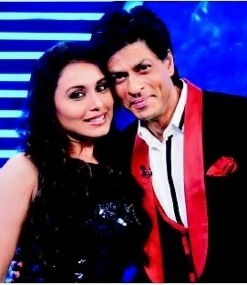 rani mukherjee wallpaper probably containing a business suit, a well dressed person, and a portrait called Rani and Sharukh -- Zor Ka Jhatka Grand Finale