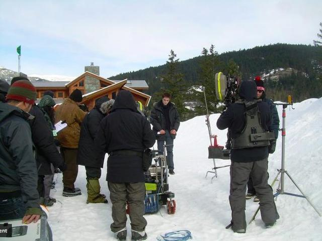 Rob on the set of Breaking Dawn in Vancouver