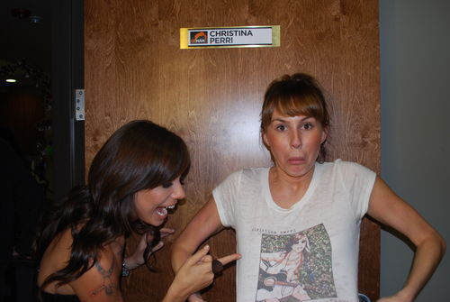 Christina Perri wallpaper probably containing a sign titled Vhristina and Keltie