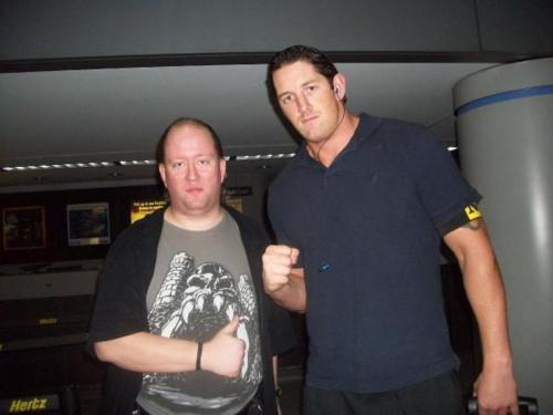 Wade Barrett wallpaper probably containing a sign, an automobile, and a hip boot titled Wade Barrett with a fan