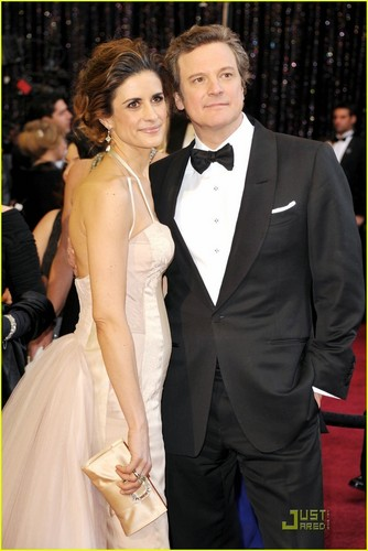 Colin Firth wallpaper probably with a business suit and a dress suit titled Colin Firth - Oscars 2011 Red Carpet