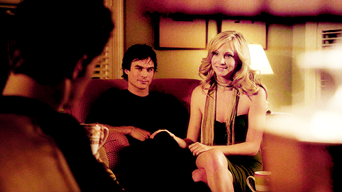 Damon & Caroline Hintergrund possibly with a drawing room, a street, and a brasserie entitled Daroline<3